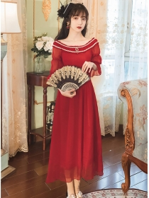 Retro Lady Fashion Boat Neck Flare Sleeve Chiffon Dress