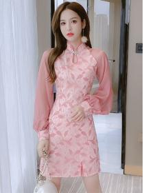 Retro Charming Lace Flowers Puff Sleeve Cheongsam Dress