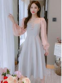 Spring OL Square Collar Color Block A-line Dress