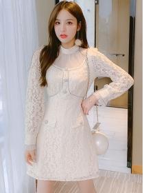 Fashion Spring Gauze Collar Lace Long Sleeve Dress
