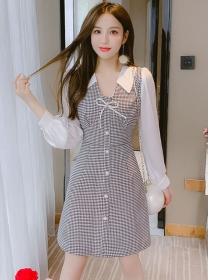 Modern Lady Bowknot V-neck Houndstooth Long Sleeve Dress