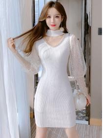 Summer New Chain Collar Lace Sleeve Knitting Dress