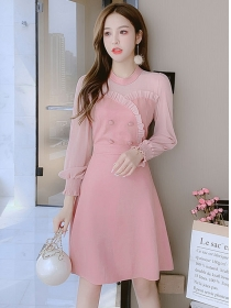 Korea Spring 2 Colors Double-breasted Suede A-line Dress