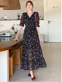 Wholesale Summer Elastic Waist Flowers Chiffon Maxi Dress