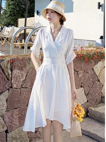 Preppy Fashion Tailored Collar Flouncing A-line Dress
