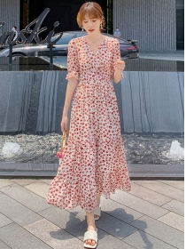 Pretty Summer V-neck Elastic Waist Flowers Long Dress