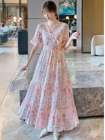 Charming Lady Elastic Waist Flowers Fishtail Dress
