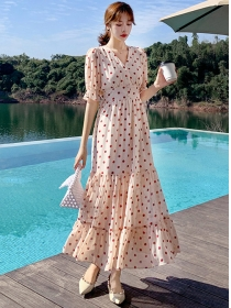 Wholesale Stylish High Waist Dots Fishtail Maxi Dress