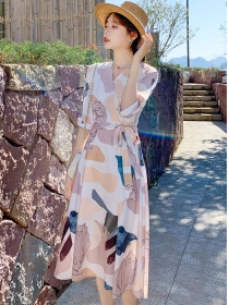 Stylish Korea Tie Waist V-neck Printings Long Dress