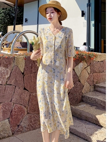 Charming Lady Single-breasted Flowers Long Dress