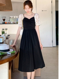 Wholesale Korea Lace Puff Sleeve High Waist A-line Dress
