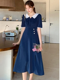 Retro Korea High Waist Doll Collar A-line Long Dress