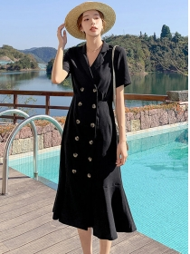 Korea Wholesale Double-breasted Tailored Collar Fishtail Dress