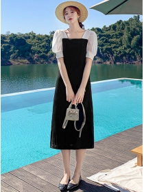 Retro Fashion Puff Sleeve High Waist A-line Dress