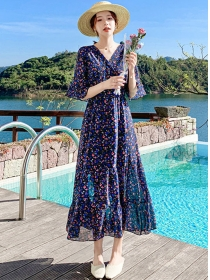 Charming Retro High Waist Flowers Chiffon Maxi Dress