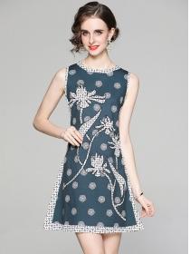 Europe Wholesale Round Neck Printings Tank A-line Dress