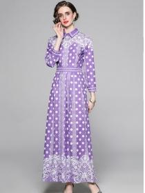 Retro Spring 2 Colors Dots Flowers High Waist Maxi Dress