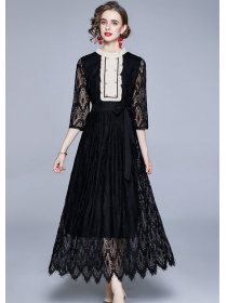 Europe Stylish Tie Waist Double-breasted Lace Maxi Dress