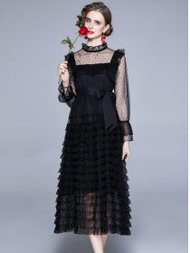 Hot Selling Tie Waist Gauze Layered Flouncing Long Dress