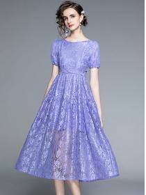 Charm Europe 2 Colors Tie Waist Backless Lace Dress