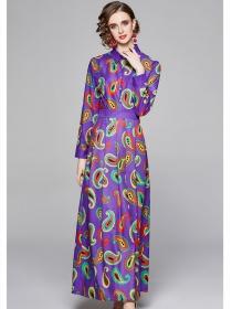 Stylish Europe High Waist Shirt Collar Flowers Maxi Dress