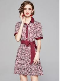 Europe Stylish 2 Colors Tie Waist Flowers Shirt Dress