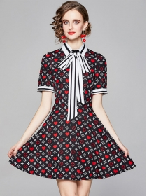 Lovely Fashion Tie Collar Heart Flowers A-line Dress