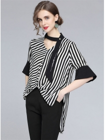 Stylish Summer Tie V-neck Stripes Dovetail Loosen Blouse