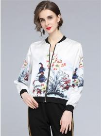 Wholesale Europe Ink Flowers Zipper Open Short Jacket