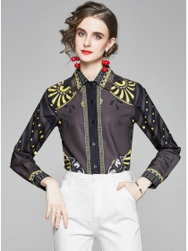 Europe Wholesale Shirt Collar Flowers Loosen Blouse