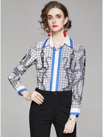 Spring New Color Block Plaids Printings Slim Blouse