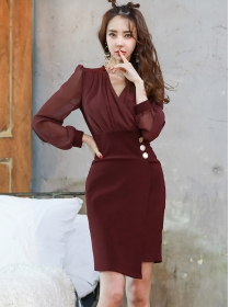 Retro Grace V-neck Fitted Waist Puff Sleeve Dress