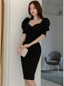 Modern Lady Square Collar Puff Sleeve Bodycon Dress