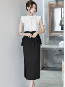 Elegant Lady Flouncing Blouse with Split Long Skirt