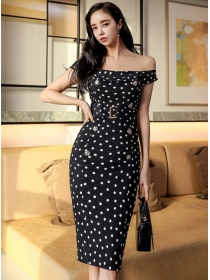 Wholesale Kores Boat Neck Double-breasted Dots Slim Dress