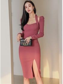 Wholesale Stylish Halter Square Collar Split Slim Dress