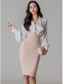 Elegant Lady Bowknot V-neck Blouse with High Waist Slim Skirt