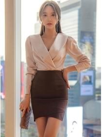 Grace Retro V-neck Pleated Blouse with High Waist Slim Skirt