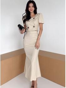 Modern New Double-breasted High Waist Fishtail Dress Set
