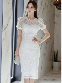 Charming Grace Lace Hollow Out Puff Sleeve Slim Dress
