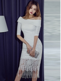 Elegant Sexy Boat Neck Lace Tassels Skinny Dress