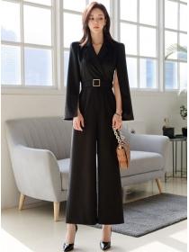 Fashion 2 Colors Wraps Shoulder High Waist Long Jumpsuit