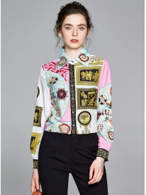 Wholesale Europe Shirt Collar Flowers Long Sleeve Blouse