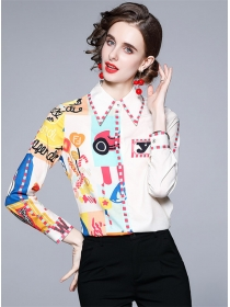 Fashion Wholesale Color Block Printings Long Sleeve Blouse