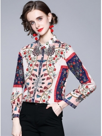 Pretty Europe Fashion Flowers Long Sleeve Blouse