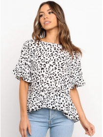 Hot Selling Leopard Flare Sleeve Loosen Blouse
