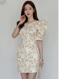 Korea OL High Waist Puff Sleeve Flowers Slim Dress