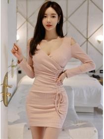 Korea Wholesale Draw-string Pleated V-neck Slim Dress