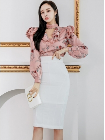 Charming Grace Flouncing Flowers Blouse with Slim Midi Skirt