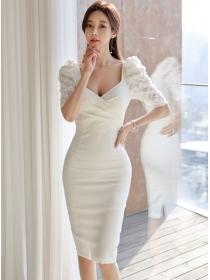 Korea Fashion V-neck Petals Puff Sleeve Bodycon Dress